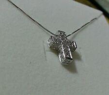 Collier Girocollo con croce oro bianco 18 kt e diamanti  0.62 ct  mod Salvini
