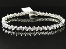 New Ladies Womens White Gold Finish Genuine Diamond Tennis S-Type Bracelet .31 C