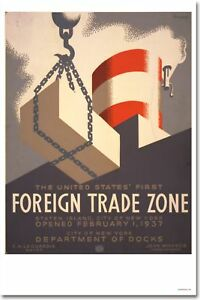 Foreign Trade Zone Cargo - WPA Vintage Art Print POSTER