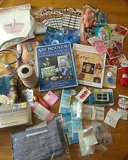 8 Pounds! Big lot vintage crafts supplies Kits Button Fabric doll hoop Buckle +