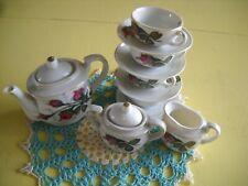 Moss Rose Childs Porcelain Tea Set Plates,Cups,Sugar,Cream,LidsPot Set of, Japan