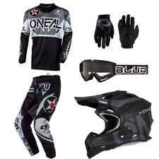 ONeal Element Warhawk Black motocross MX gear - Helmet Jersey Pants Gloves combo