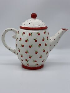Hallmark Cherries Teapot with Red Polka Dots 6 Cup Ceramic
