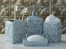 Designer 4-Piece Ceramic Bath Accessory Set Soap Lotion Dispenser Dish Holder