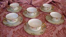 SET OF 6 HAND PAINTED ANTIQUE HAVILAND BAVARIA TEA / COFFEE CUPS & SAUCERS