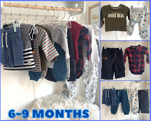 Baby Boys 6-9 Months Clothes Essentials Bundle Trousers Tops Shirts Sleepsuits T