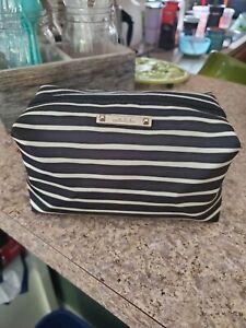 Stella & Dot Black And White Striped Collapsable Make Up Bag