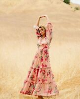 Anthropologie Boho Mauve Floral Long Ful Maxi Dress M Medium Peasant Prairie New