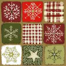 Christmas 20 Paper Lunch Napkins MAGIC STARS Red Green Snow Winter / D