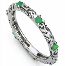 EMERALD RING 0.34 CWT SILVER WHITE GOLD LOOK HALLMARKED EARTH MINED STONES