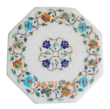 """12"""" White Marble Side Coffee Table Top Multi Stone Floarl Inlay Patio Decor W274"""