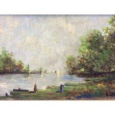 Peinture sur carton paysage impressionniste impressionnisme signée Cortes XIXe