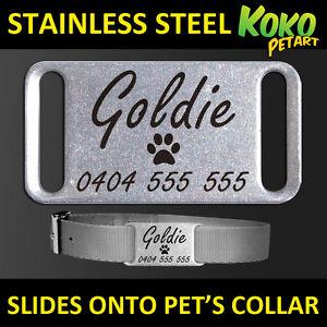 Stainless Steel Personalised Laser Engraved Silent Slider Collar Pet Dog Tag