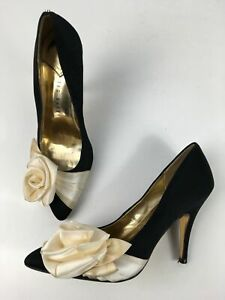 WOMENS TED BAKER UK 6 BLACK IVORY SATIN FLOWER HIGH HEEL WEDDING PARTY SHOES