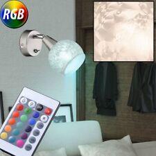 LED Applique murale Variateur boule en verre Eisblumen décor Spot tournant RGB