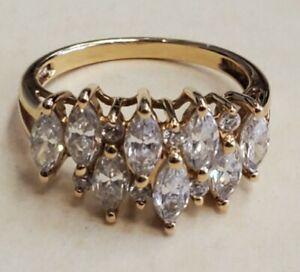 3CTW Diamonique Diamond Cocktail Ring 14K Yellow Gold Size 8