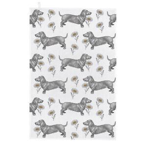 Thornback & Peel Tea Towel Sausage Dog & Daisy 100% Cotton
