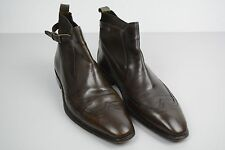 Hugo Boss Ankle Strap Slip-On Brown Chelsea Boots Leather size 8 8.5 42 42.5