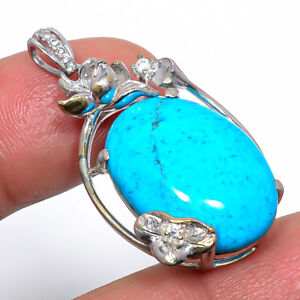 """Magnesite Turquoise & Cz Gemstone 925 Sterling Silver Pendant Jewelry 1.4"""" S1918"""