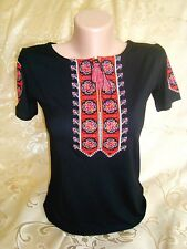 Ukrainian Embroidered women's black T-Shirt Embroidery red white cross Size M