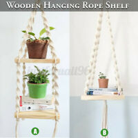 Bohemian Wooden Handmade Macrame Wall Hanging Rope Shelf Floating Plant Rack