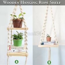 Bohemian Wooden Handmade Macrame Wall Hanging Rope Shelf Floating Plant Rack
