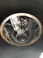 Georges BriardGlass Serving Bowl Silver Rimmed & Embellished Clear VTG MCM