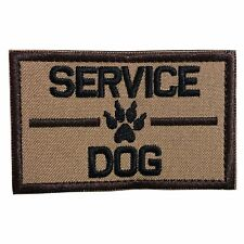 Service Dog, K9 Dog Embroidered Tactical Morale Hook & Loop Patch Coyote Brown