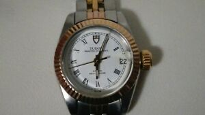Ladies Rolex Tudor Princess Oysterdate. Automatic, watch 92313 white dial.
