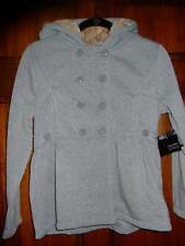 NWT ~ HOLIDAY EDITIONS gray peplum jacket faux fur hood w/ bow ~ girls L 10 12