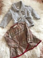 Zara Baby Girl Blouse And H&M Gray Cardigan Size 9-12 Months Lot Of 2 Minimalist