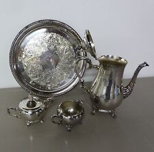 Silver Plate Tea/Coffee Set w/Serving Tray Teapot Pot