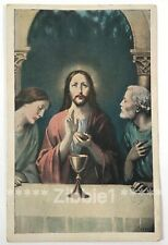 Jesus, St Peter, St John The Last Supper, Vintage Divided Unposted Holy Postcard