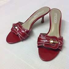 Moda Spana Sz 6.5 M Red Patent Leather Open Toe Backless Heels Pumps