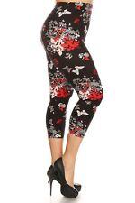 New Women's Plus Size Sexy Capri Floral Print Leggings Stretchy 1XL-3XL R595