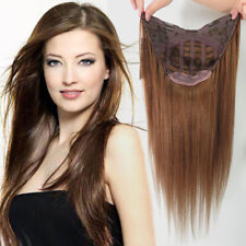 100% Remy Human Hair  U-Part Clips in One Piece 3/4 Half Weft Cap Wig 16-24inch