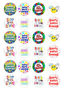 24 edible Sorry you're leaving Iced Icing Fondant 4cm Cupcake Toppers Cake