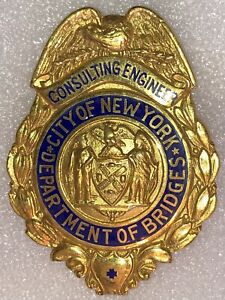 OBSOLETE Consulting Engineer New York City NYC Bridges Department Badge CD Reese