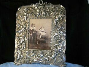 LARGE VICTORIAN ANTIQUE ART NOUVEAU CHERUBS ANGELS PICTURE PHOTO FRAME SILVER P