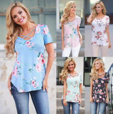 AU Women Summer Floral Short Sleeve Ladies Casual Loose Tops T-Shirt Blouse Hot