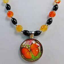 Orange Butterfly Pendant on Agate Stone Beads & Black Glass Beads Necklace NEW