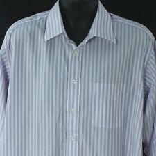 Ike Behar Mens 16.5 33 Dress Shirt White Purple Stripe L Designer Business Work