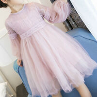 Girls Gauze Lace Middle Dress Long Puff Sleeve Princess Dress For Autumn Spring