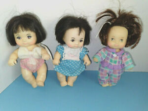 """Lot of 3 AdorableVintage 5"""" Asian? Love a Bye Baby Dolls w/Clothes Hasbro"""