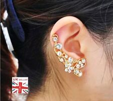 Pretty Gold Plated Flower Earring Over Ear Hook Cuff Crystal Ladies UK Seller