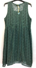 BOHEMIA SWEDEN GREEN SLEEVELESS COTTON DRESS PIN TUCKS DITSY FLORAL PRINT LINED