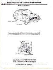 1973 1974 HONDA CIVIC 2 DOOR 3 DOOR CHASSIS PARTS LIST & PART NUMBER SHEETS IMP