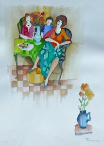 "Tarkay Itzchak Original unique watercolor HAND SIGNED with 2 Images 22"" x 30"""