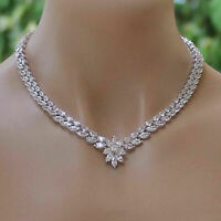40Ct Marquise Cut Diamond Wedding Necklace In Solid 14k White Gold Finish