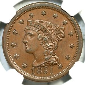 1851 N-29 R-2 NGC MS 62 BN CAC Braided Hair Large Cent Coin 1c